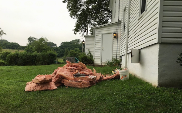 Side view - A big pile of pink fiberglass laying in a grassy yard next to an open white farm house crawl space door.