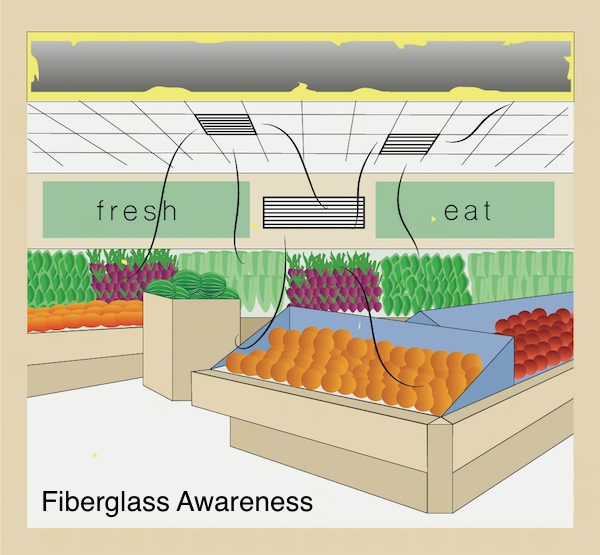 A grosery store produce section with oranges, apples, watermelon and other vegetables with fiberglass lined ductwork above showing bits of fiberglass coming out of the vent and landing all over the food.