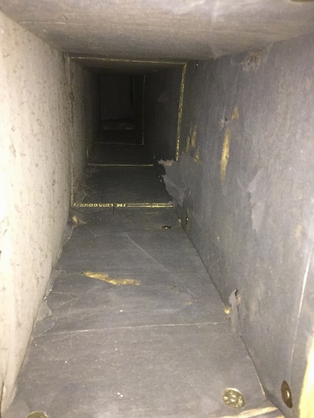 A view from the inside of a fiberglass lined duct