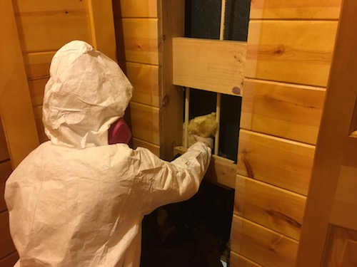 A person in a white hazmat suit wearing a pink 3M filterette fiberglass-free respirator pulling yellow fiberglass batt insulation out from behind a wooden wall.