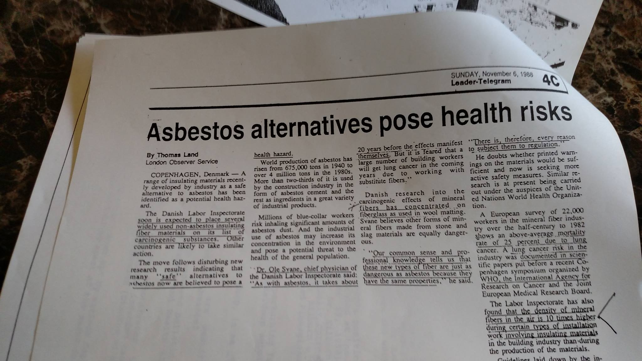 A picture of a newspaper article from 1988