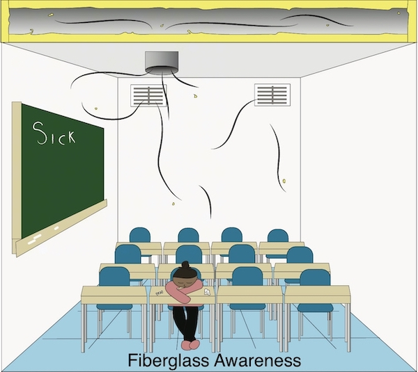 A school classroom with empty desks lined up in rows with one child in the front row with her head down not feeling well with tissues next to her. On the chalkboard to her left it says 'sick'. Above her are fiberglass lined ducts blowing bits of fiberglass into the air and on top of her head.